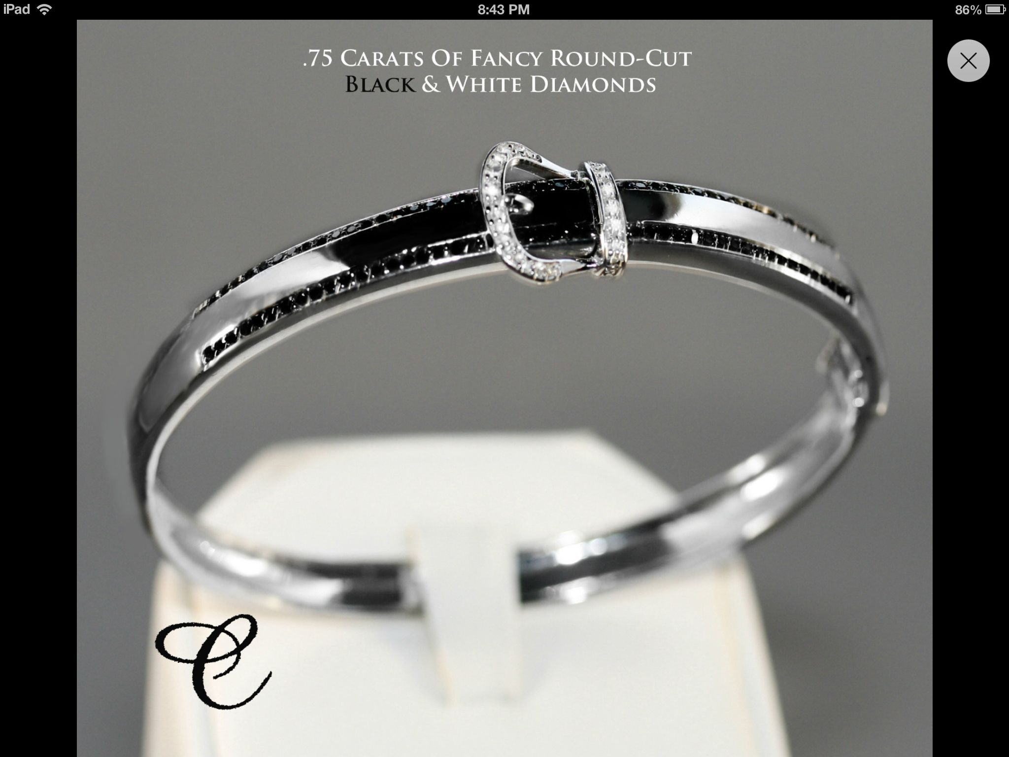 Brand new sterling silver carat black and white diamond buckle