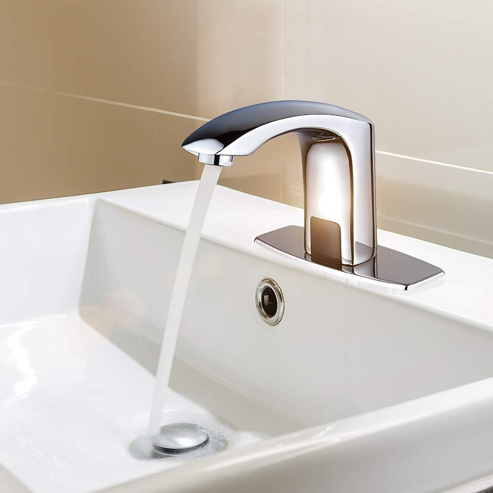 Automatic Commercial Sensor Touchless Bathroom Faucet With Hole Cover Deck Plate Vanity Faucet Motion Activated Hands Fr With Images Sink Vanity Faucet Sink Taps