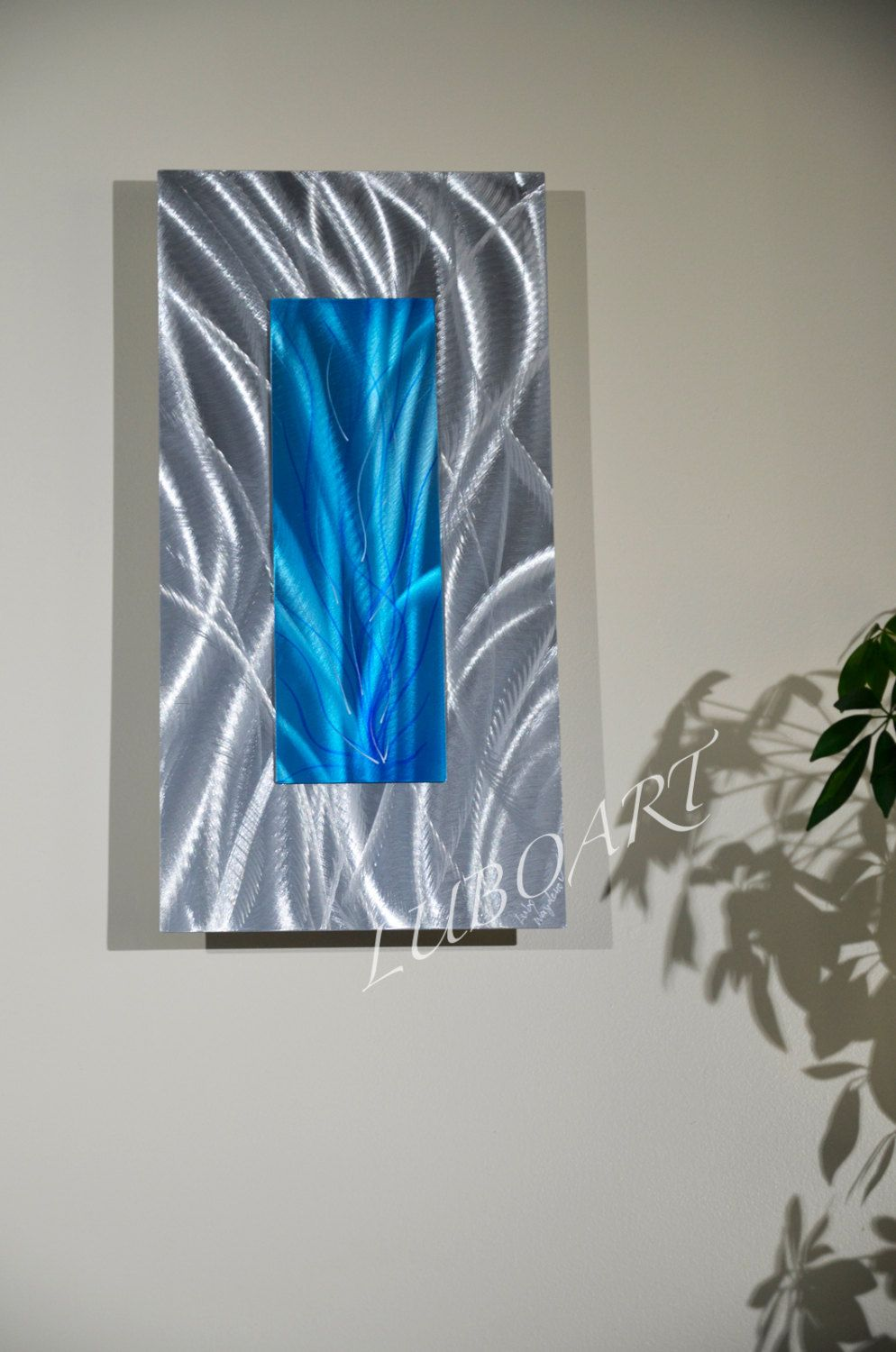 Metal art painting collage 3d modern office home contemporary silver blue wall decor unique hand made sculpture by lubo naydenov by luboart on etsy