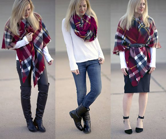 Comment porter une charpe plaid fashion inspiration - Comment mettre une echarpe plaid ...