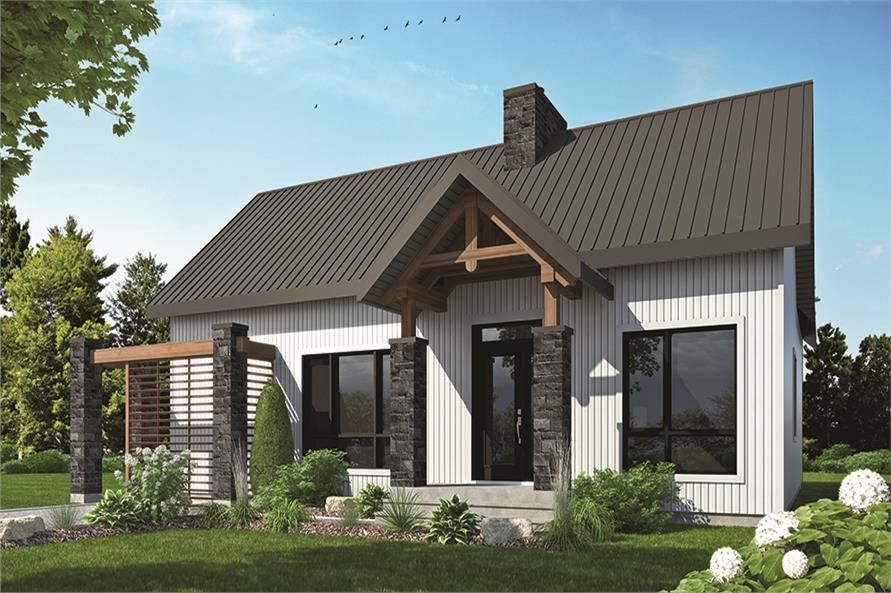 Front elevation of Country home (ThePlanCollection House Plan #126 - plan de maison campagne