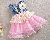 Denim in Pink Tulle Ruffle Dress - Girl Easter Dress - Toddler Easter Dress - Sun Dress Girl - Sun Dress Toddle - Tutu - Princes - Photo Sho