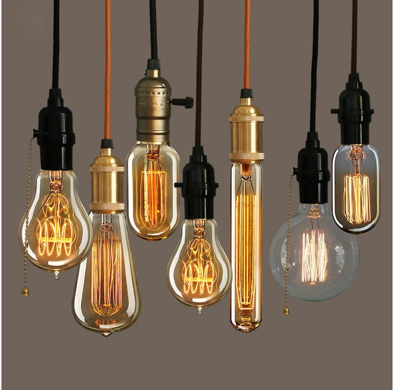Retro Vintage 40W Edison Light Bulb ChandelierE27 220V