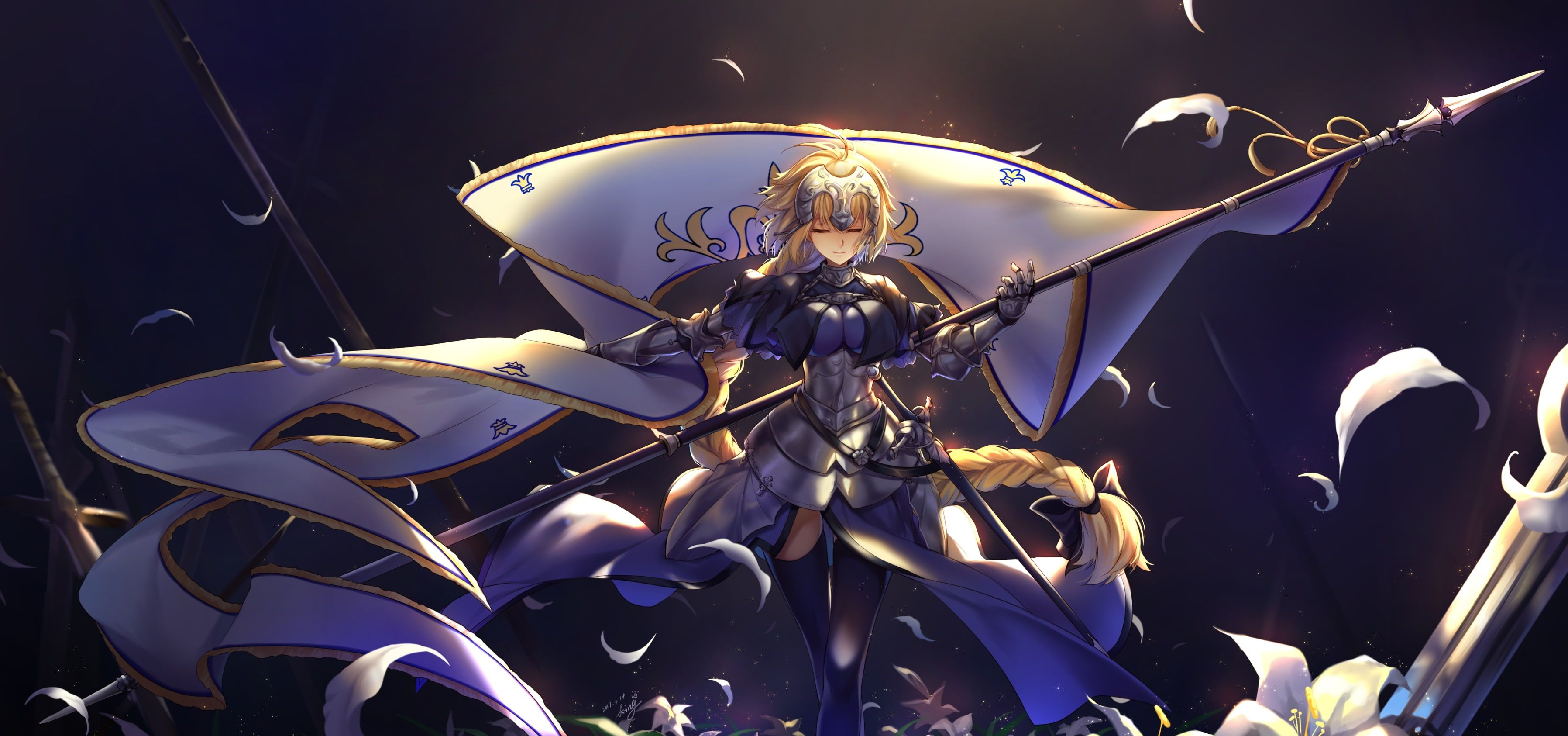 Jeanne D Arc Fate Apocrypha Fate Grand Order Blonde Spear Armor Closed Eyes Anime 2k Wallpaper Hdwallpaper Desktop Jeanne D Arc Anime Joan Of Arc