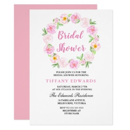 Cute Pink Floral Wreath Bridal Shower Invitation Floral wreath