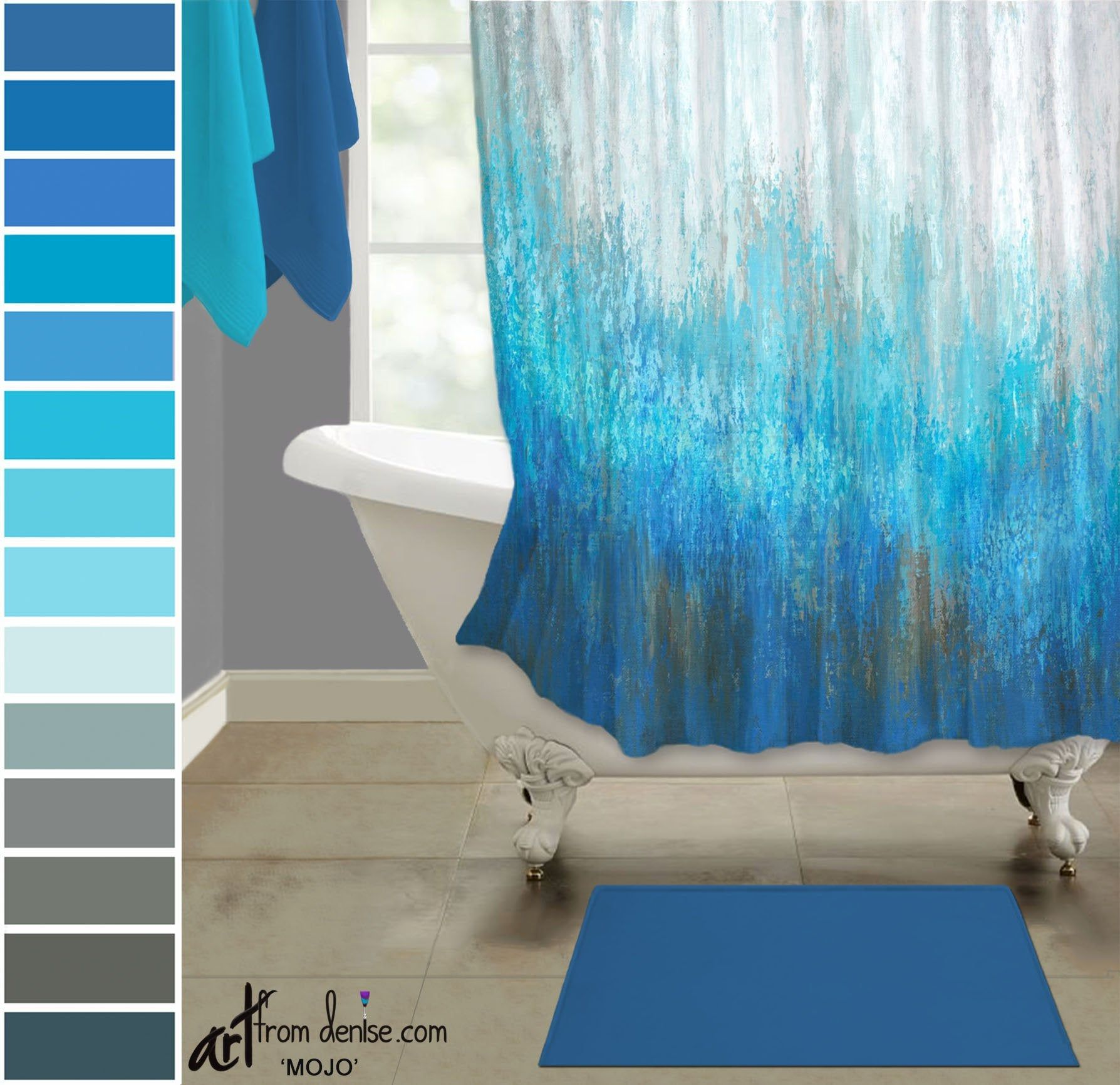 Abstract Brown Aqua Gray Navy Blue Shower Curtain For Modern