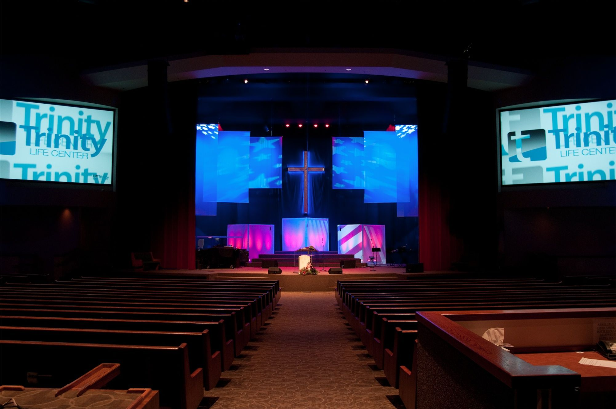 back drops for church stage | Lighting from: Rick Franke, Illuminate Production Services