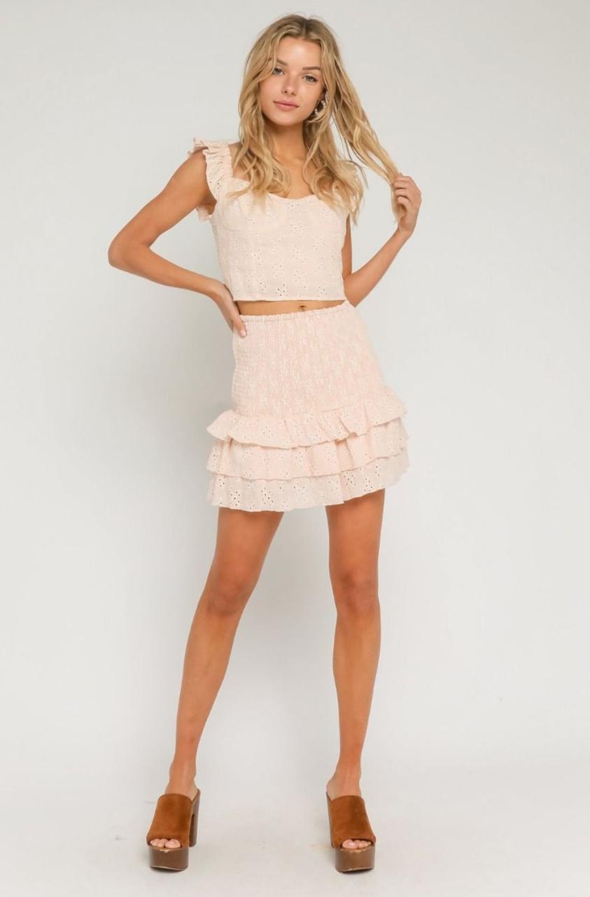 Peach Two Piece Mini Dress Two Piece Dress Piece Dress Clothes For Women [ 1280 x 843 Pixel ]