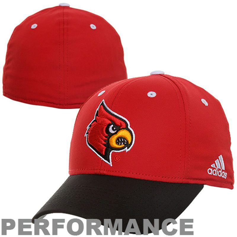 adidas Louisville Cardinals On-Field Structured Flex Performance Hat - Red/Black