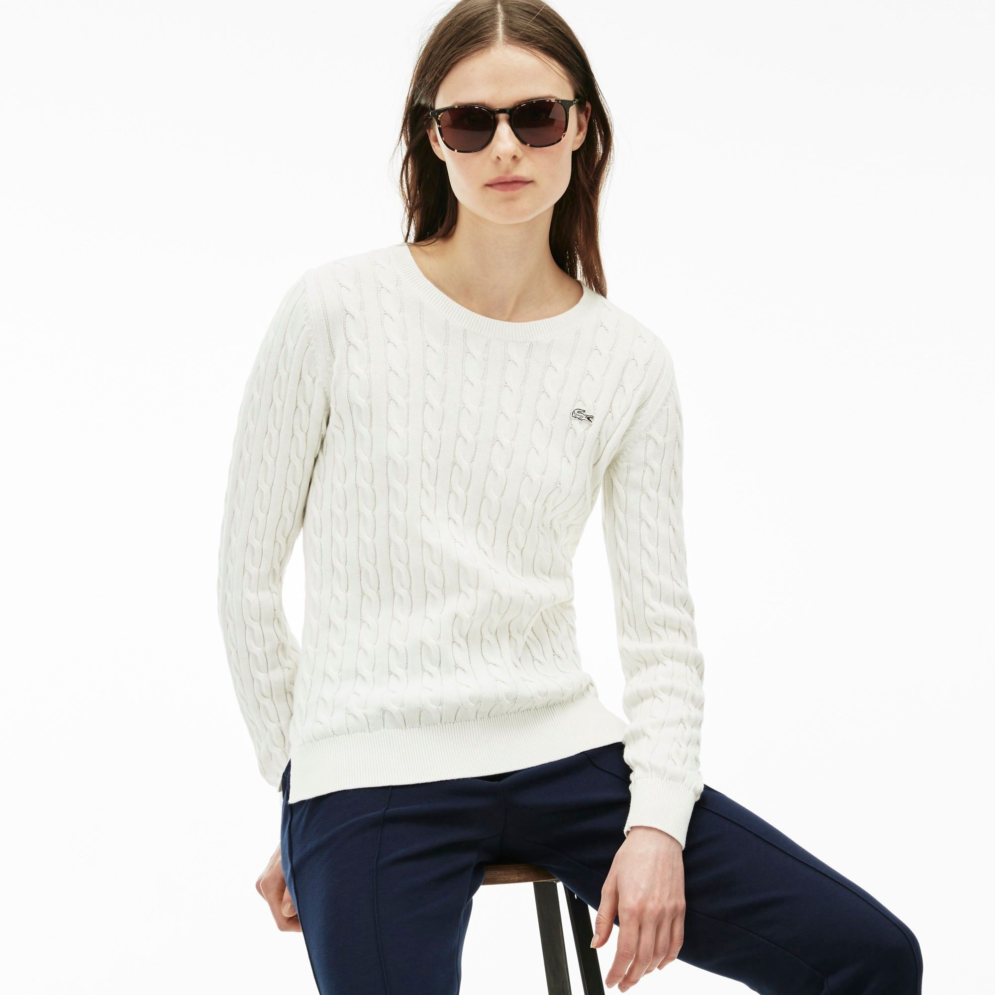 LACOSTE Women'S Cotton Cable Knit Crewneck Sweater - Cake Flour ...