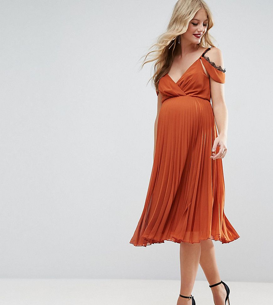 Get this asos maternitys cotton dress now click for more details click for more details worldwide shipping asos maternity midi skater dress with cold shoulder and lace detail orange maternity dress by asos maternity ombrellifo Choice Image