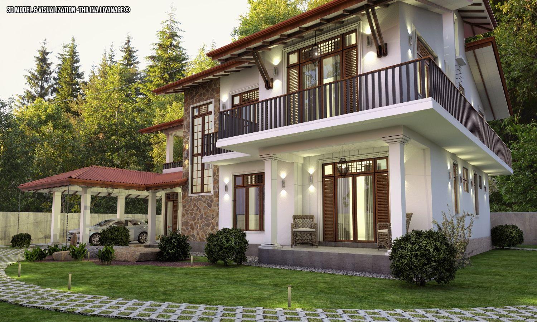 Proposed House At Nittambuwa Sri Lanka House Including Car Porch Verandah Sitting Dining Kitchen T V Lounge Large Balcony 4 Be House Porch Veranda House Styles