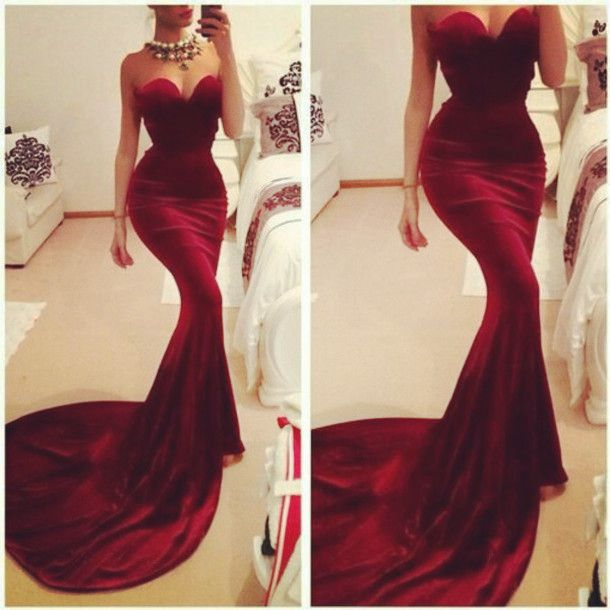 Sexy Sweetheart Mermaid Prom Dresses,Wine Red Prom Dress 2016,Burgundy Prom Gowns,Long Evening Dress,Evening Formal Gown