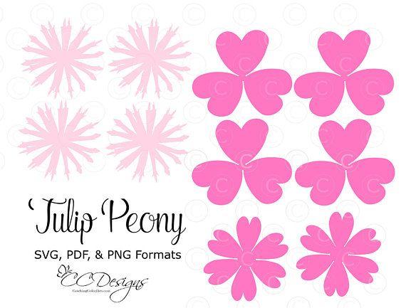 Tulip Peony Paper Flower Templates, DIY Paper Flower Kit, SVG Cut ...