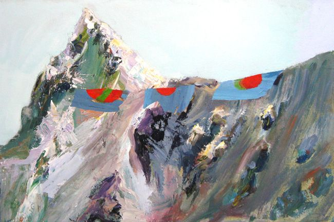Mountain with Flags by Judith Simonian, 2012 acrylic, 20 x 30 inches