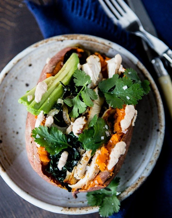 Loaded sweet potato with chipotle cashew cream. Make this delicious, protein-packed recipe this week.
