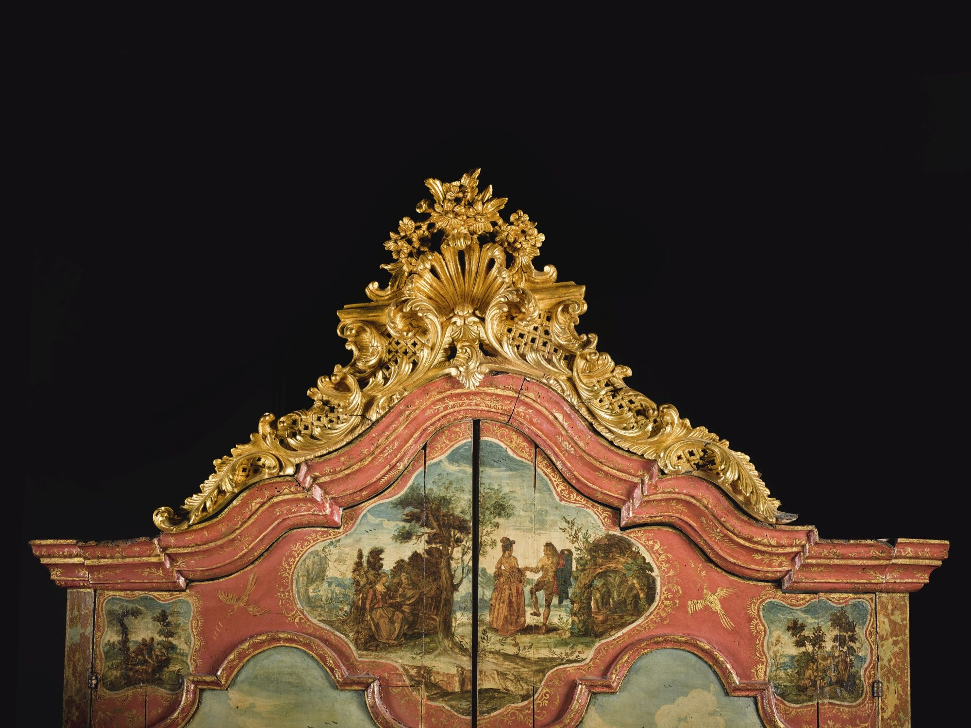 Date unspecified an italian rococo carved giltwood lacca povera and