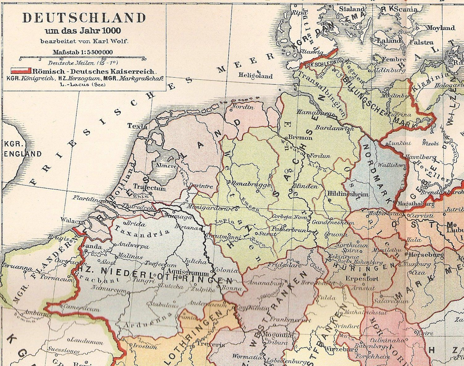 Antique map of germany in the year 1000 1895 historical