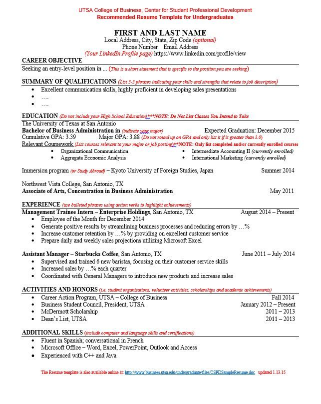 UTSA COB Resume Template Your resume is the document through - barista job description resume
