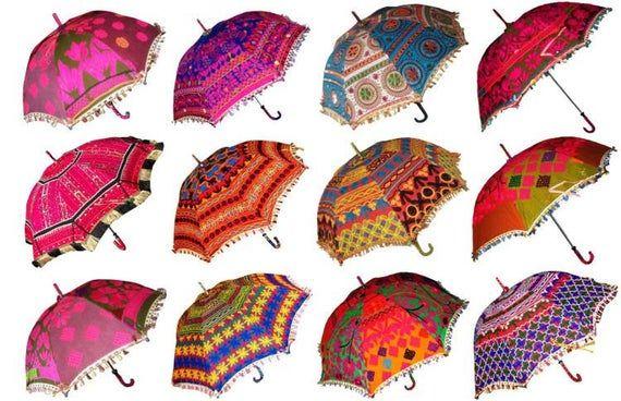 10 PC Indian Umbrellas Decorative Wedding Embroidery Handmade Women Parasols Lot