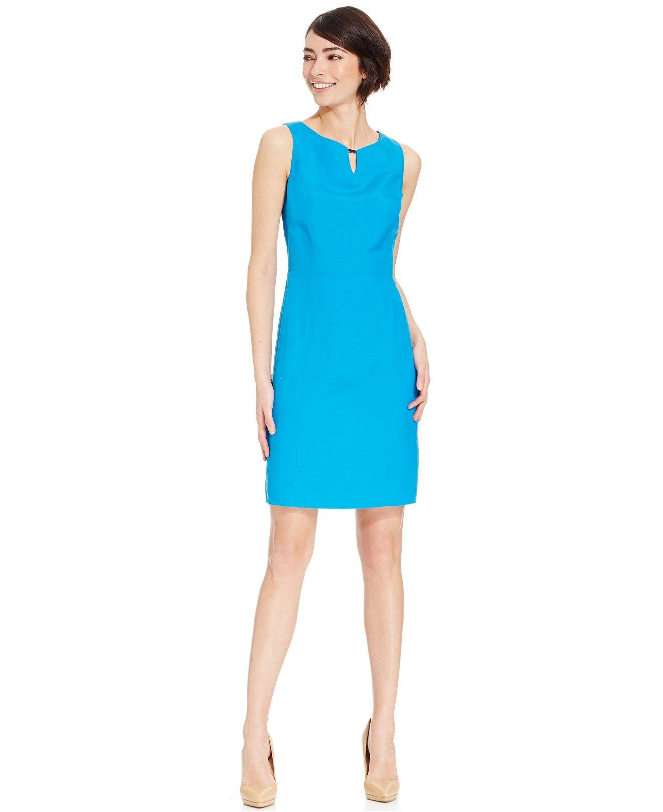 Tahari ASL Linen-Blend Keyhole Sheath Dress - Wear to Work - Women ...
