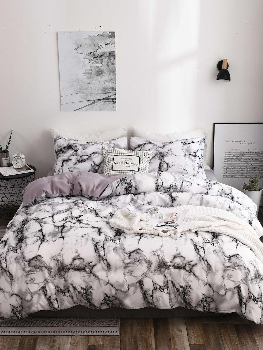 Marble Print Sheet Set SheIn(Sheinside) Marble bed