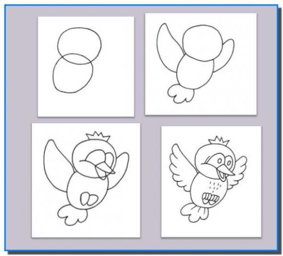 how to draw a parrot step by step for kids