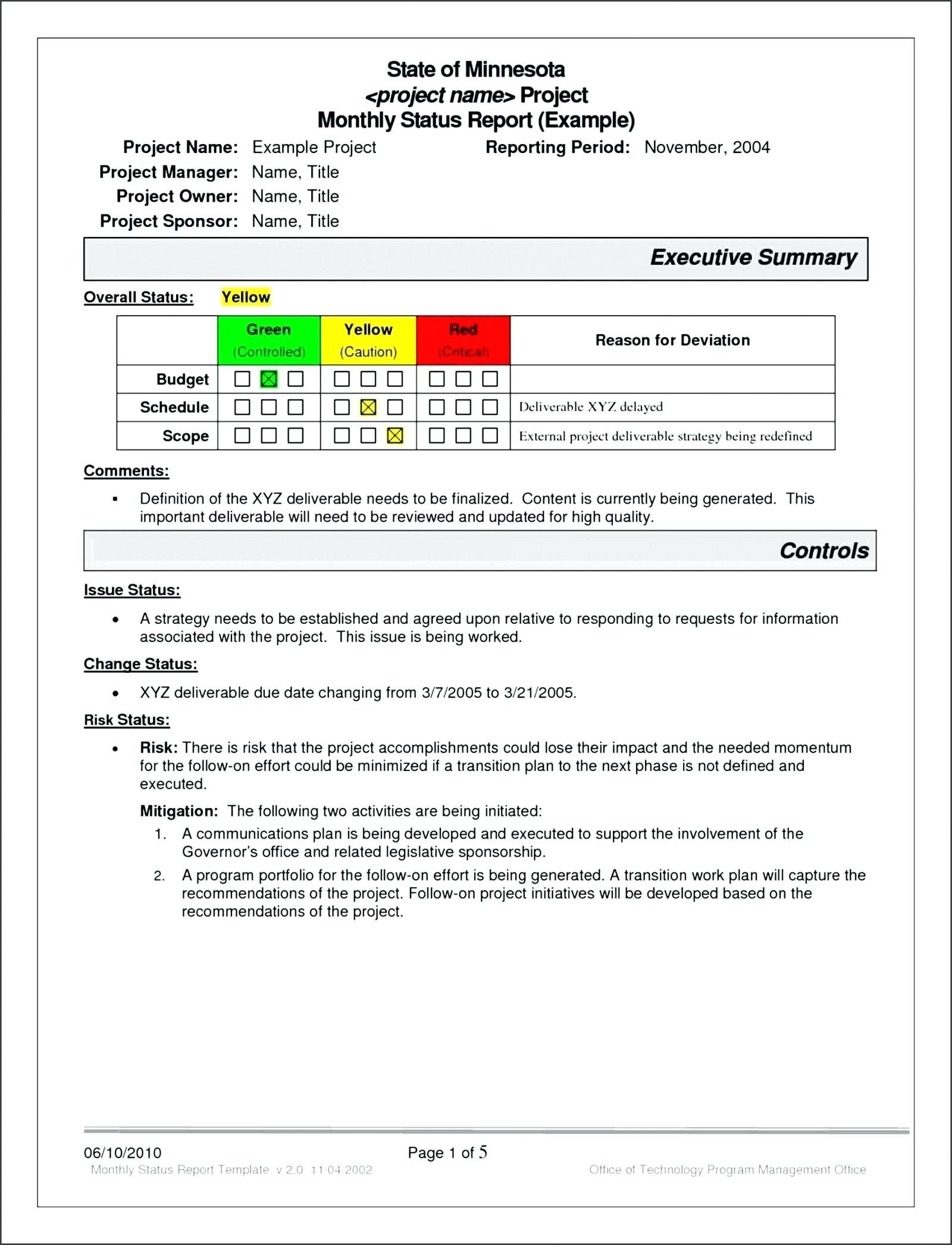 Project Turnover Report Template Management Example Tem With