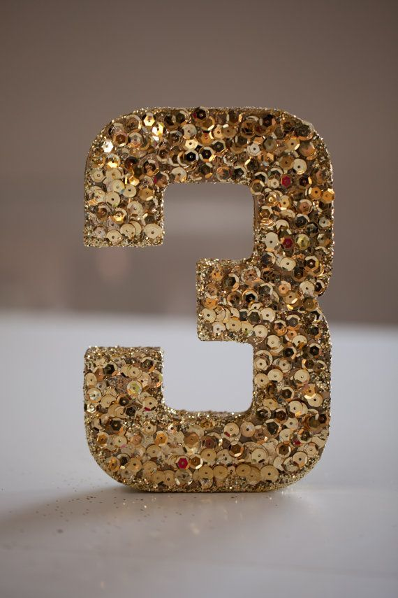 Individual Sequined And Glittered Wedding Table Numbers Gold Sequins Glitter