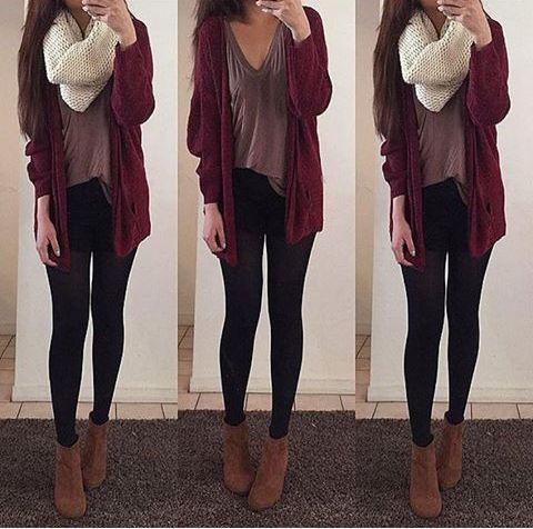 Maroon cardigan, loose shirt, black leggings, brown ankle