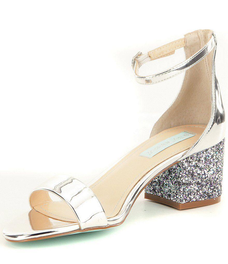 4710cdd4f37 Blue by Betsey Johnson Jayce Metallic Ankle Strap Glitter Block Heel ...