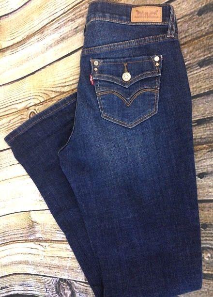 062fcdf5f4b Levis 505 Womens 4M Straight Leg Jeans Flap Pockets Dark Distressed Mid  Rise EUC  Levis  StraightLeg