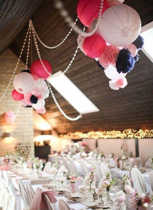 30 Hanging Paper Pompoms Decor Ideas For Your Wedding Paper Lanterns Wedding Wedding Lanterns Round Paper Lanterns