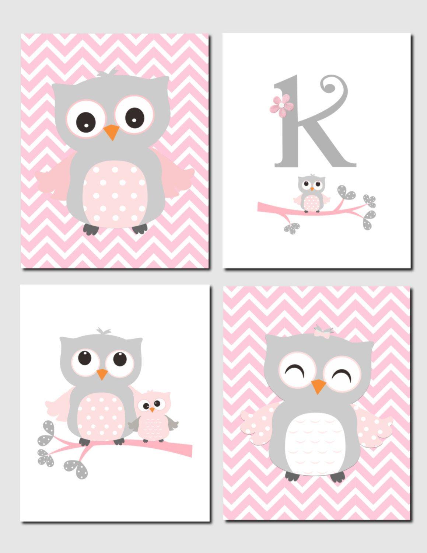 Owl Nursery Art, Pink Gray Owls, Initial, Monogram, Baby