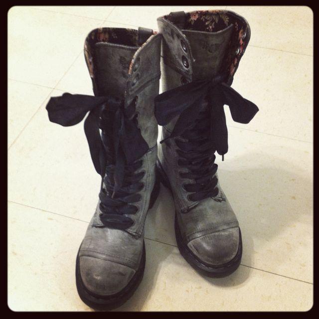 Dr. Martens Women's Triumph 1914 Boot - Black Noir - a.k.a. my motorcycle boots.
