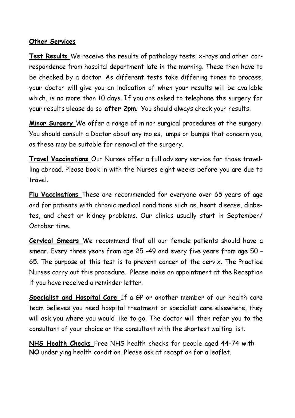 Budbrooke Practice Leaflet Simplebooklet Clinics Other Services