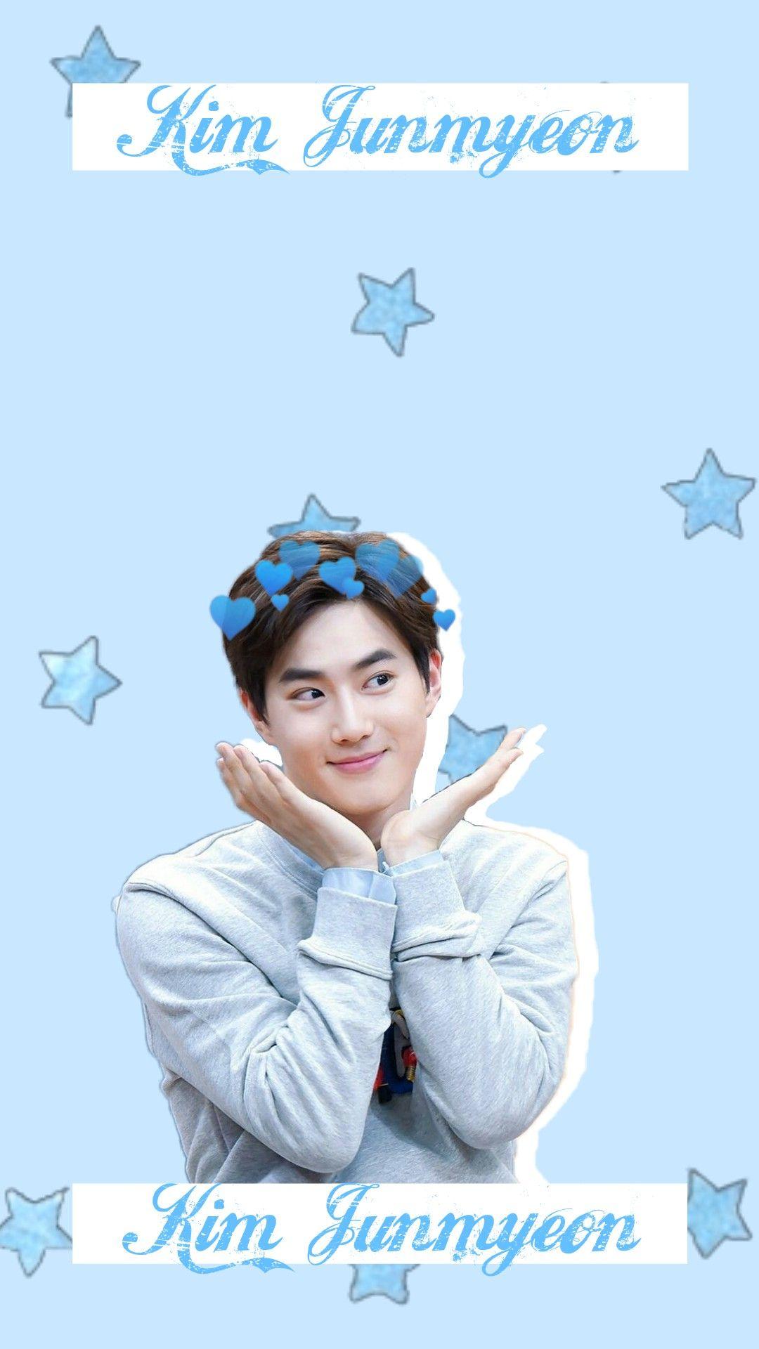 Exo Suho Kim Junmyeon Blue Wallpaper Stars Freetoedit Suho