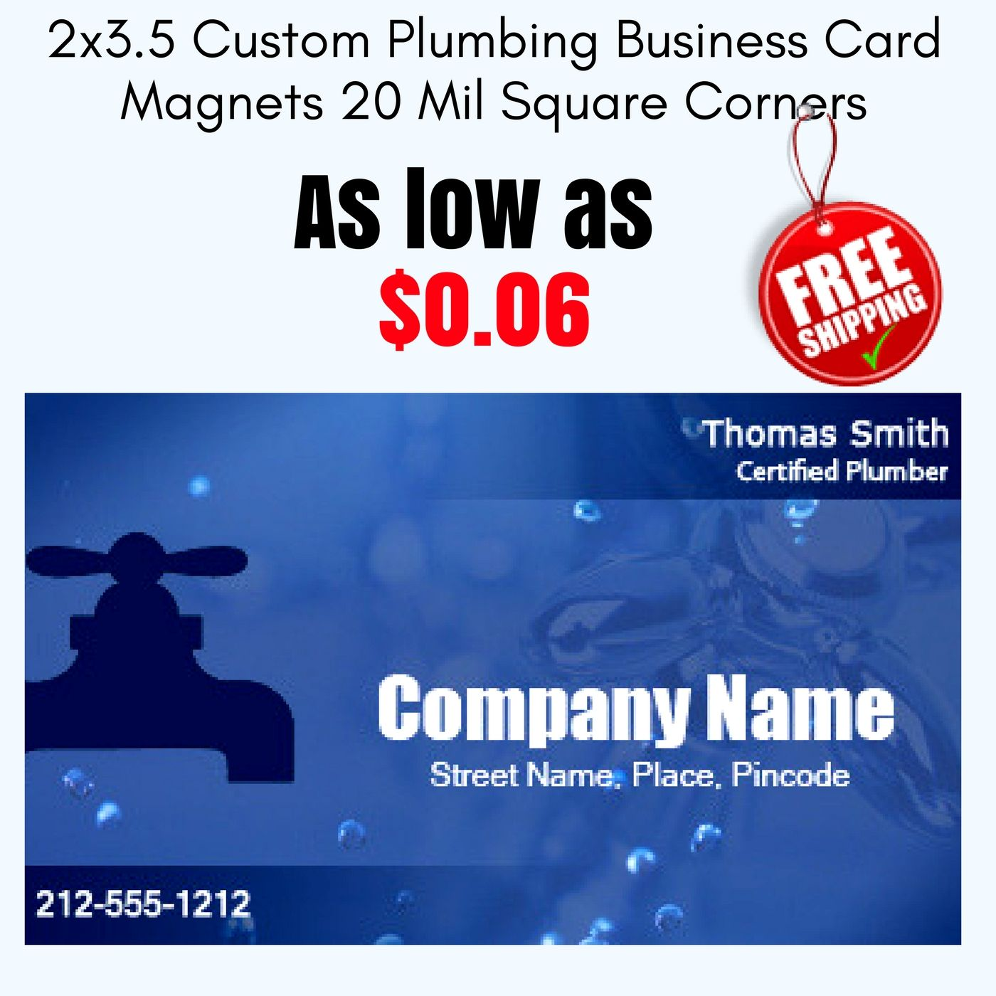 2x35 custom plumbing business card magnets 20 mil square corners 2x35 custom plumbing business card magnets 20 mil square corners plumbing business card magnets home garden magnets shop by theme colourmoves