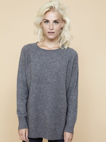Soft Goat womens-oversize-o-neck-grey-melange