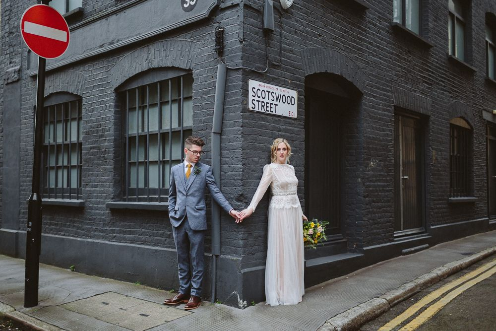 The Peasant Clerkenwell Wedding - Katya Katya Shehurina Wedding Dress For A Relaxed London Wedding At Islington Town Hall With A Reception At The Peasant Clerkenwell Images by Kate Gray