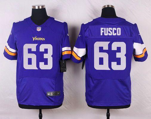 Men's Minnesota Vikings #63 Brandon Fusco Purple Team Color NFL Nike Elite Jersey