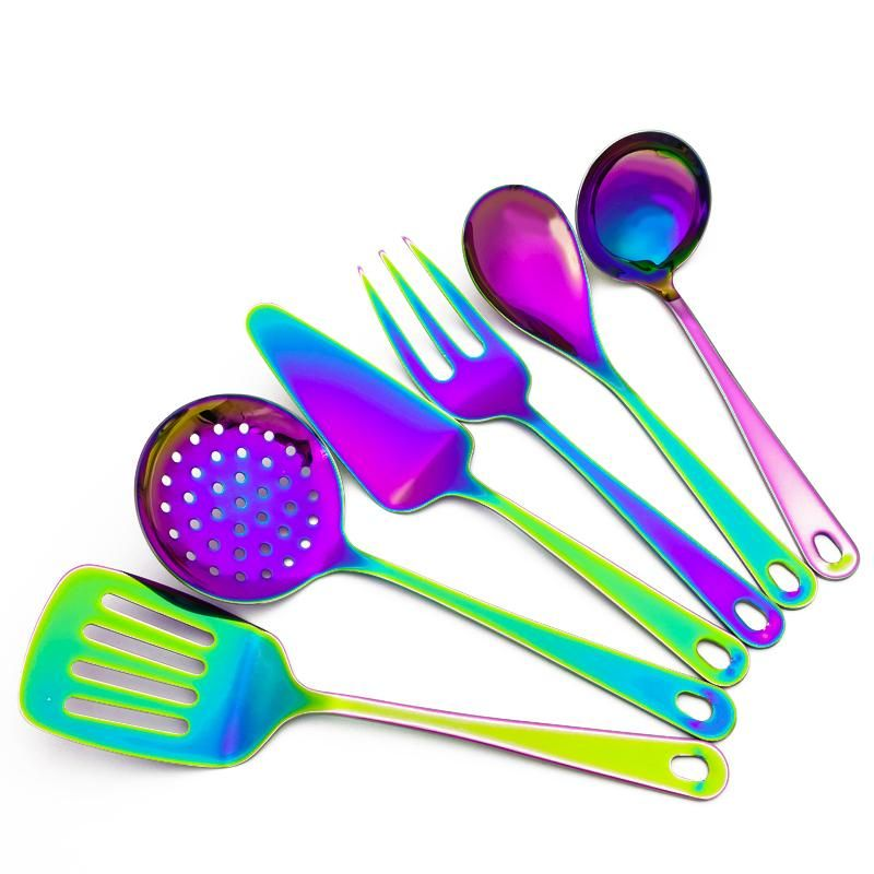 Cutlery Stainless Steel Rainbow Mermaid Long Handle Tea Spoon Kitchen Cutlery To Suit The PeopleS Convenience