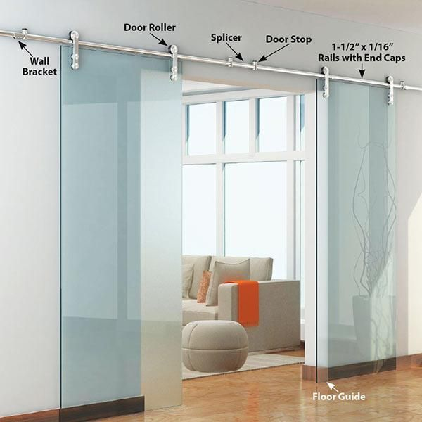 American Pro Decor Stainless Steel 304 Grade Decorative Sliding Rolling Door Hardware Kit For Double Glass Doors With Fittings Doors Doors Interior Double Glass Doors Sliding Doors Interior