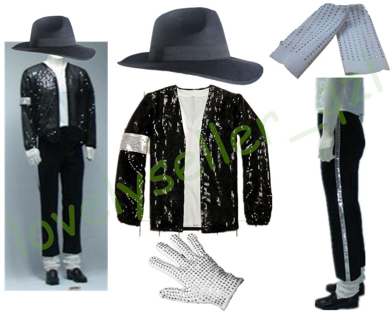 5 Pcs Unisex Michael Jackson Billie Jean Jacket Hat Pants Glove Socks Mj Outfit Michael Jackson Costume Real Leather Jacket Black Sweater Hoodie [ 1000 x 1250 Pixel ]
