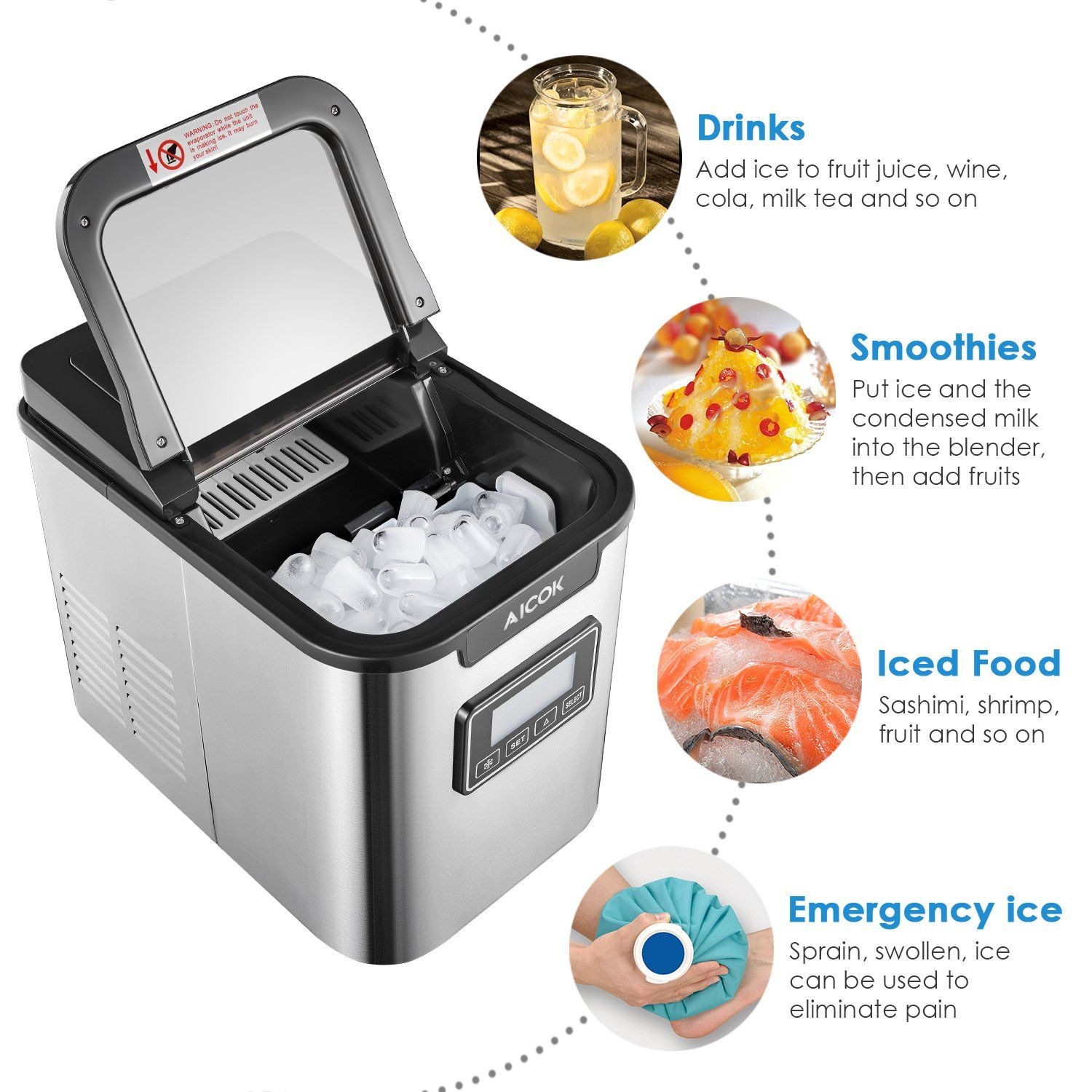 Aicok Portable Ice Maker Ice Cubes Ready In 6 Minutes Counter Top