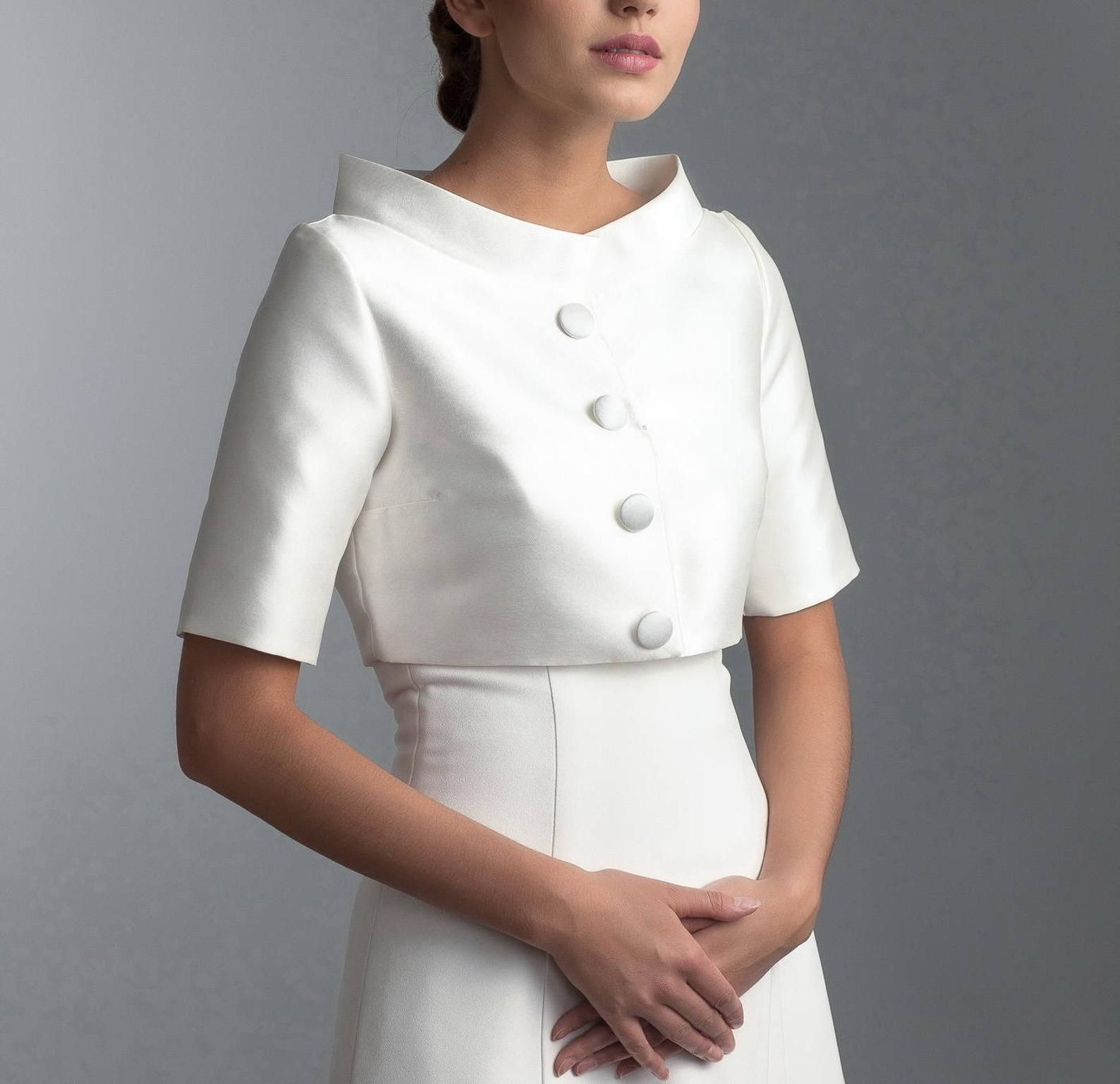 Bridal jacket with short sleeves and collar, Wedding jacket, Mikado jacket, Collar jacket
