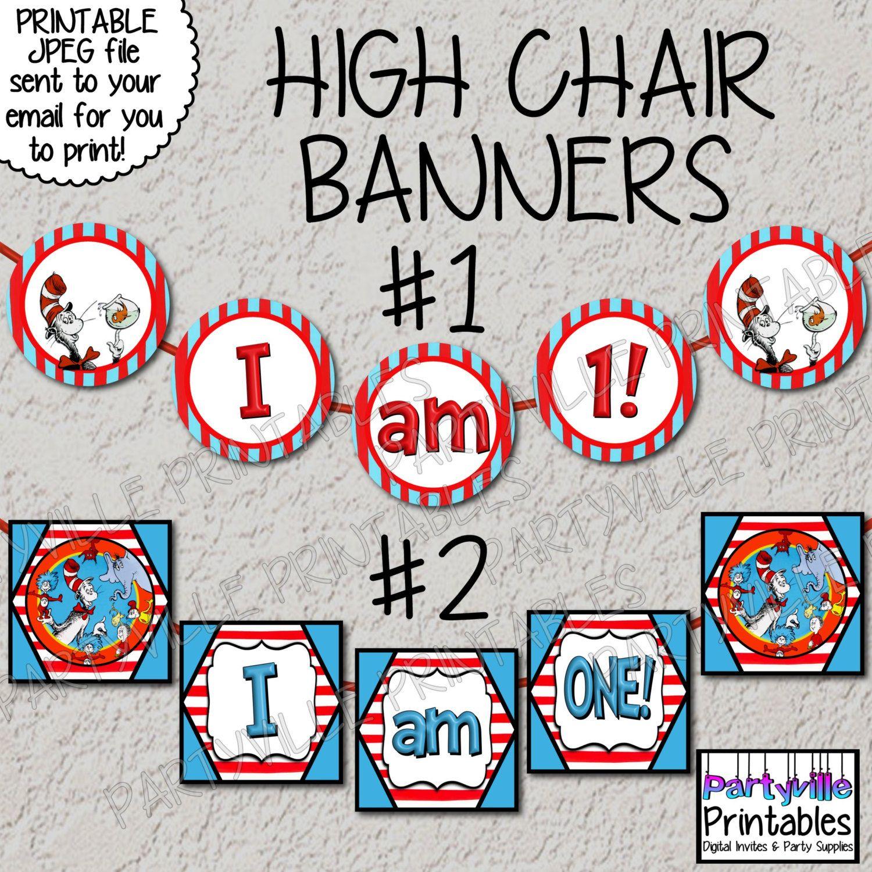 Cat Birthday Banner: Dr. Seuss Highchair Banner High Chair Banner Wall Banner