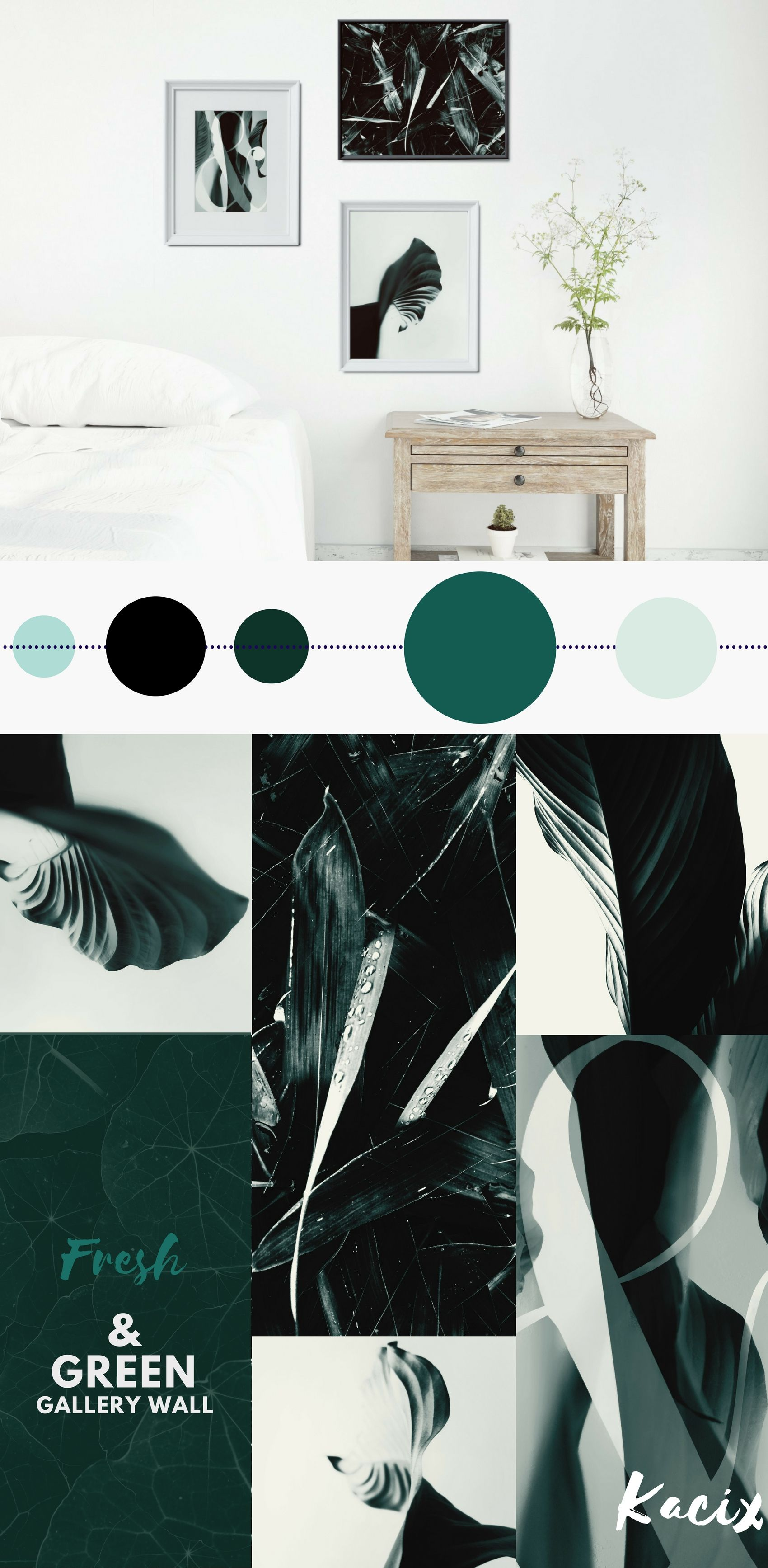 I Love This Minimalist Monochromatic Green Palette Gallery Wall Bundle
