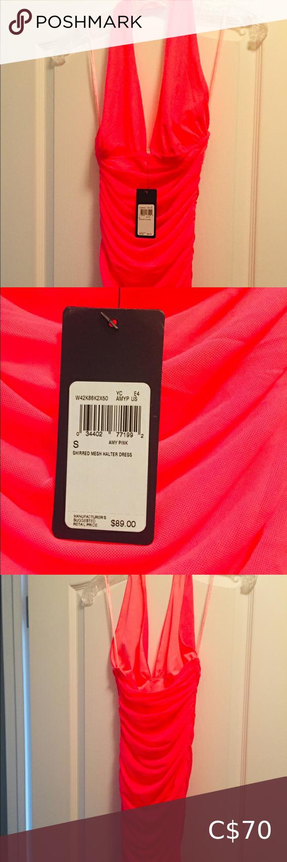 Guess halter pink dress NWT