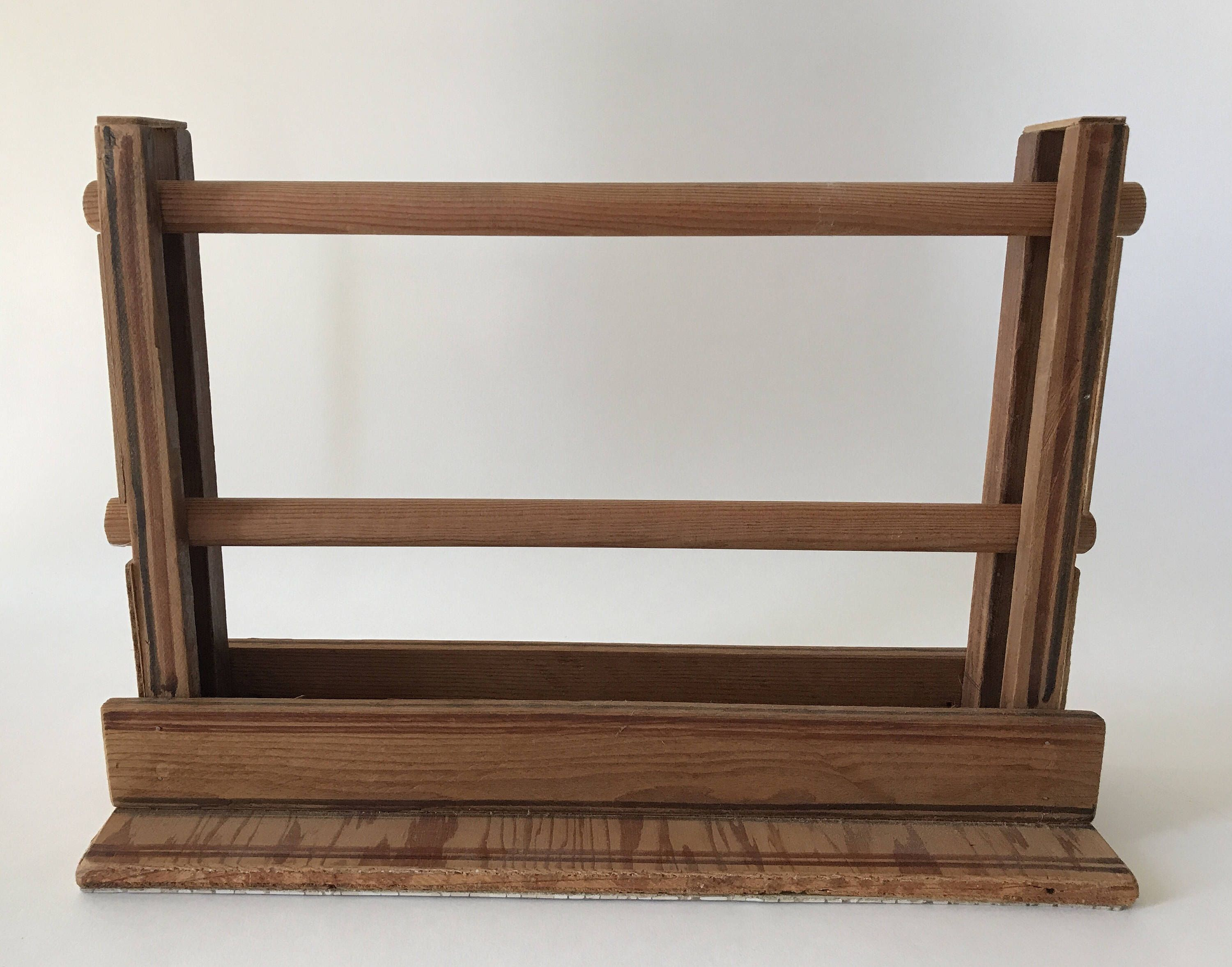 Vintage Wooden Ribbon Spool Holder Two Dowel Caddy | Textiles ...